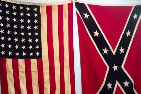 An American And Confederate Flag